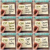Fotografia Foto collage degli acronimi di affari scritte a mano