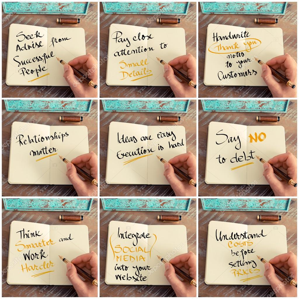 Motivational Messages Photo Collage Of Handwritten Motivational Messages  Stock Photo