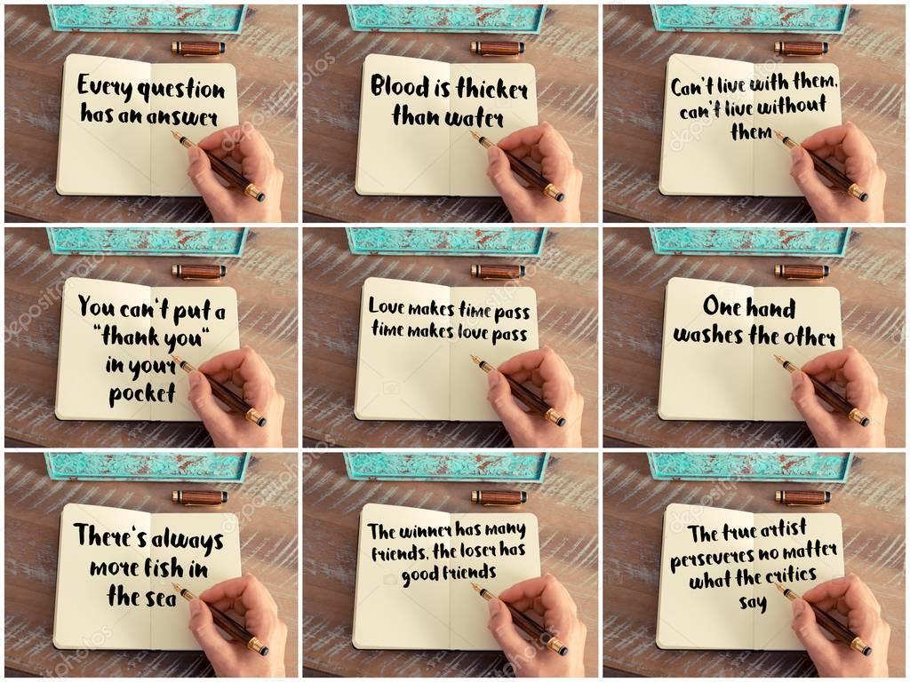 Citaten Schrijven : Fotocollage van handgeschreven citaten op laptop u stockfoto