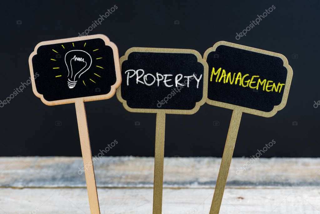 Concept Message PROPERTY MANAGEMENT And Light Bulb As Symbol For Idea  Written With Chalk On Wooden Mini Blackboard Labels, Defocused Chalkboard  And Wood ...