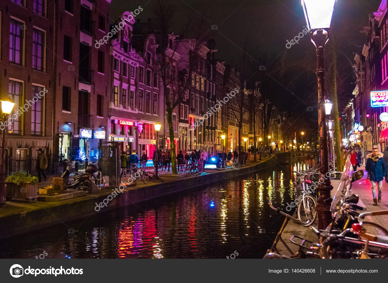 Night street view in Amsterdam Red Light District - Stock