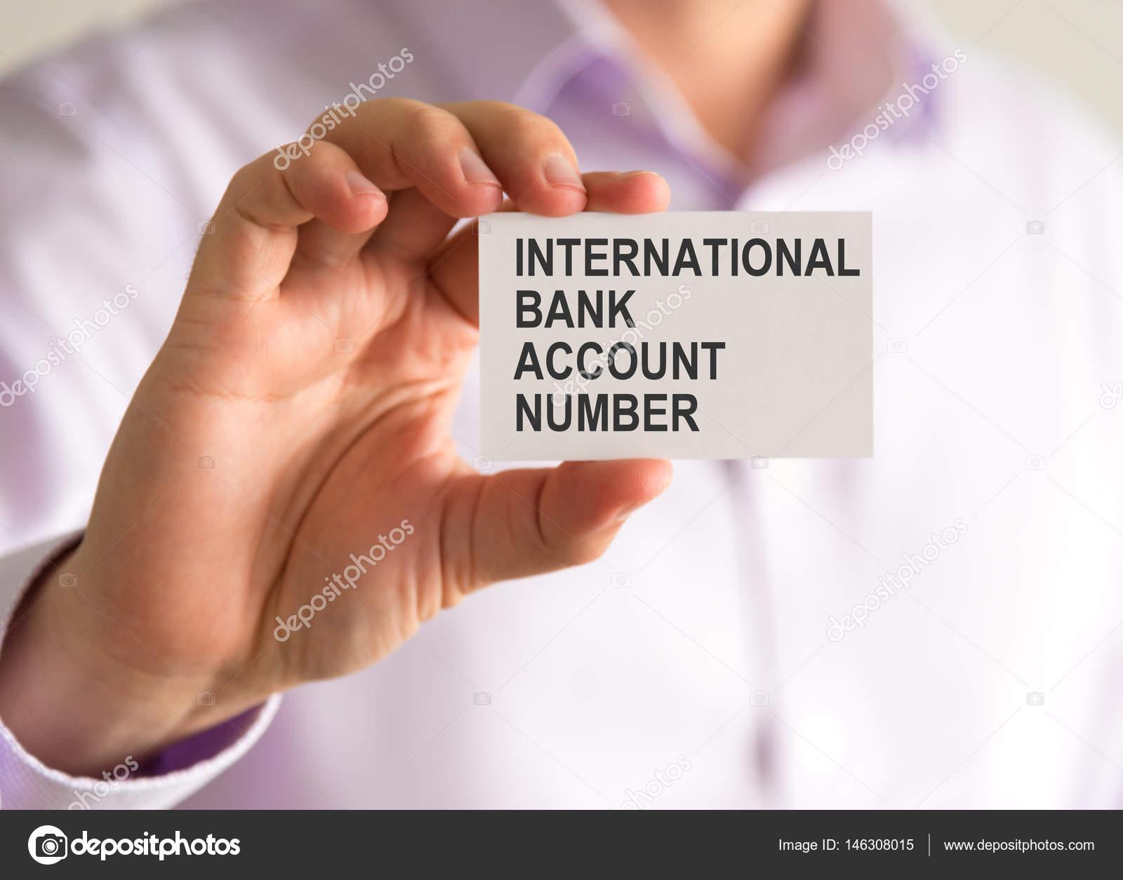 Iban Auf Karte.Geschäftsmann Hielt Eine Karte Mit Iban International Bank Account