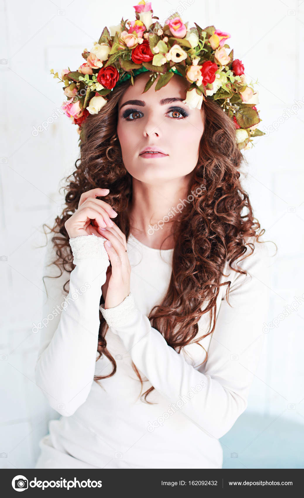 Beautiful woman with flower crown stock photo mewithoutyou beautiful woman with flower crown bohemian style photo by mewithoutyou izmirmasajfo
