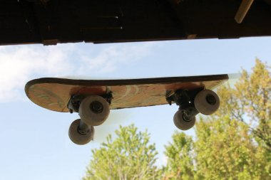 Skateboard flying in the air