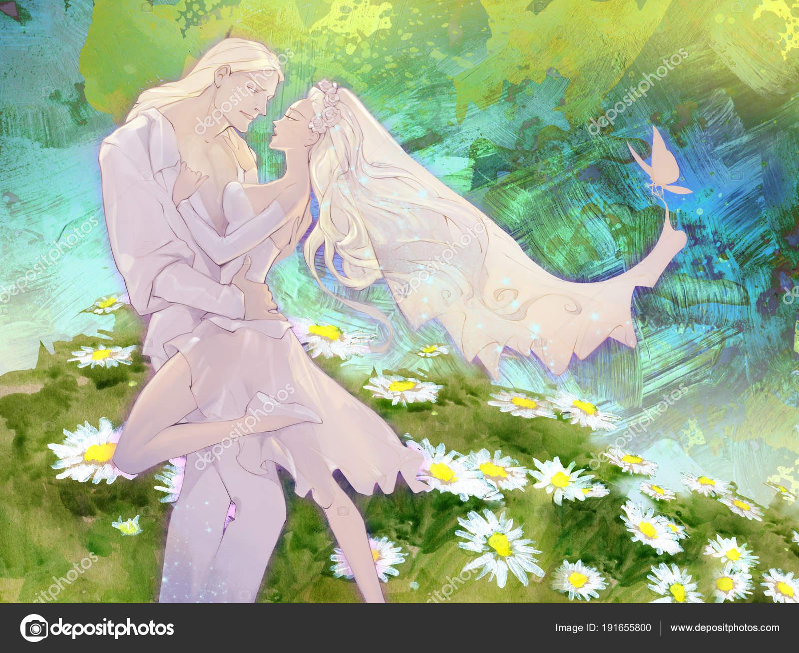 美しいアニメだけ抽象的な背景と結婚した若いカップルの結婚式イラストの