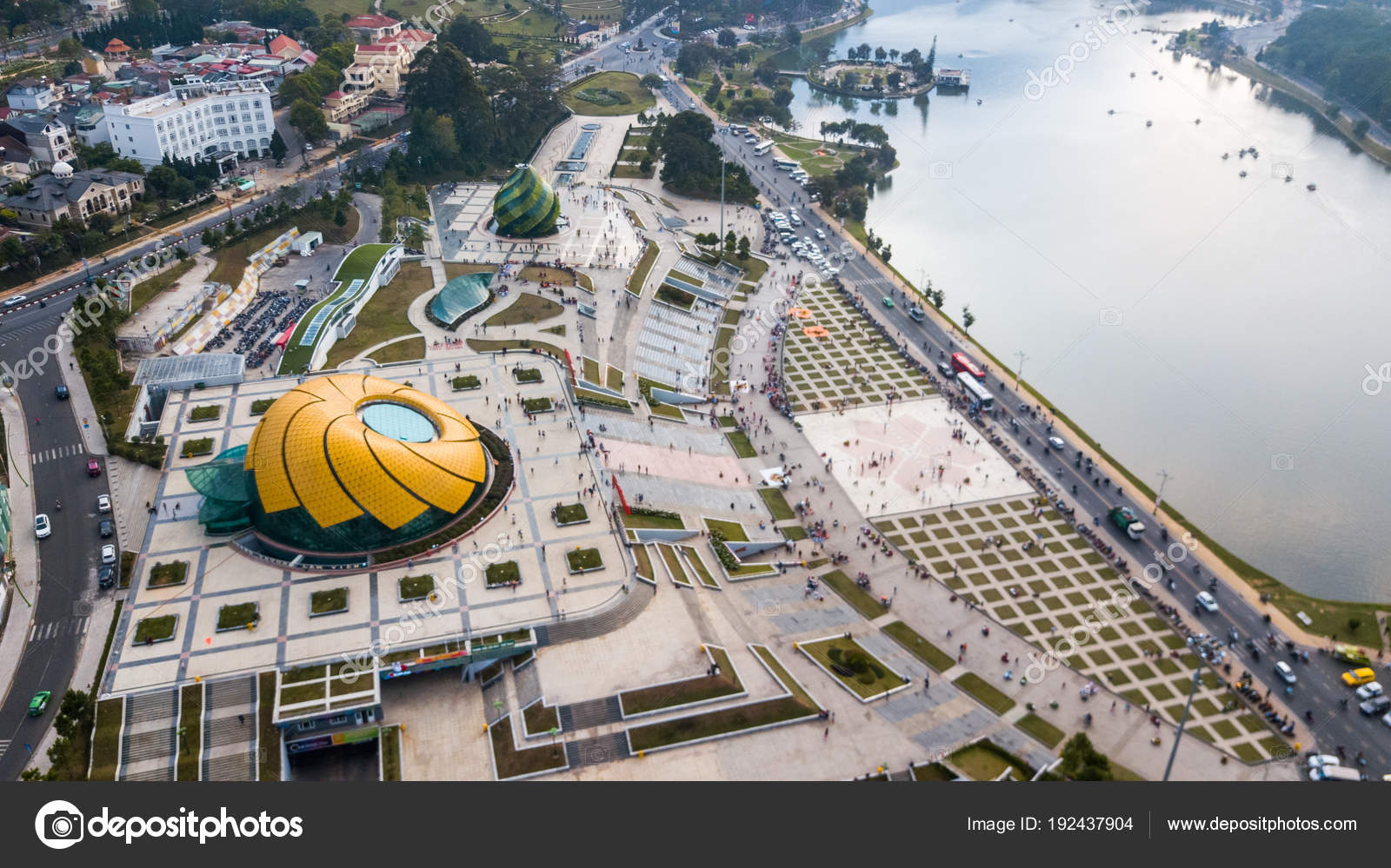 Aerial View Drone Dalat City Located Langbian Plateau Southern Parts Stock Photo