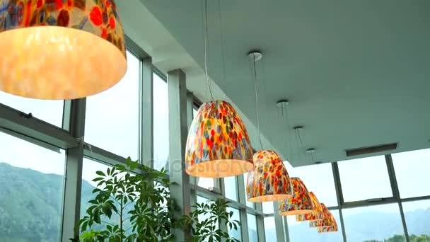 Chandelier in the apartment. A beautiful chandelier on the ceili