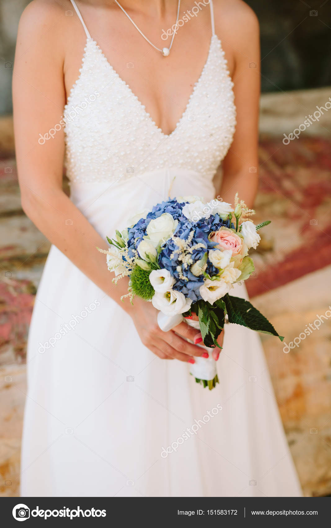 Hochzeit Brautstrauss Von Hortensien Astilba Lisianthus In Der
