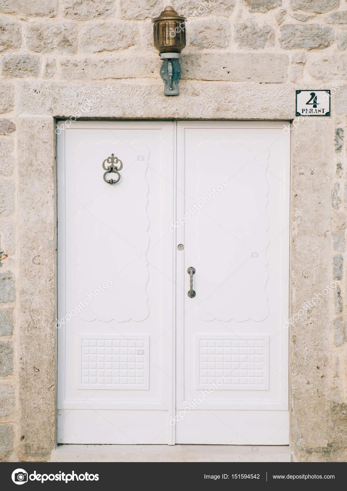 Old White Doors Wood Texture Stock Photo