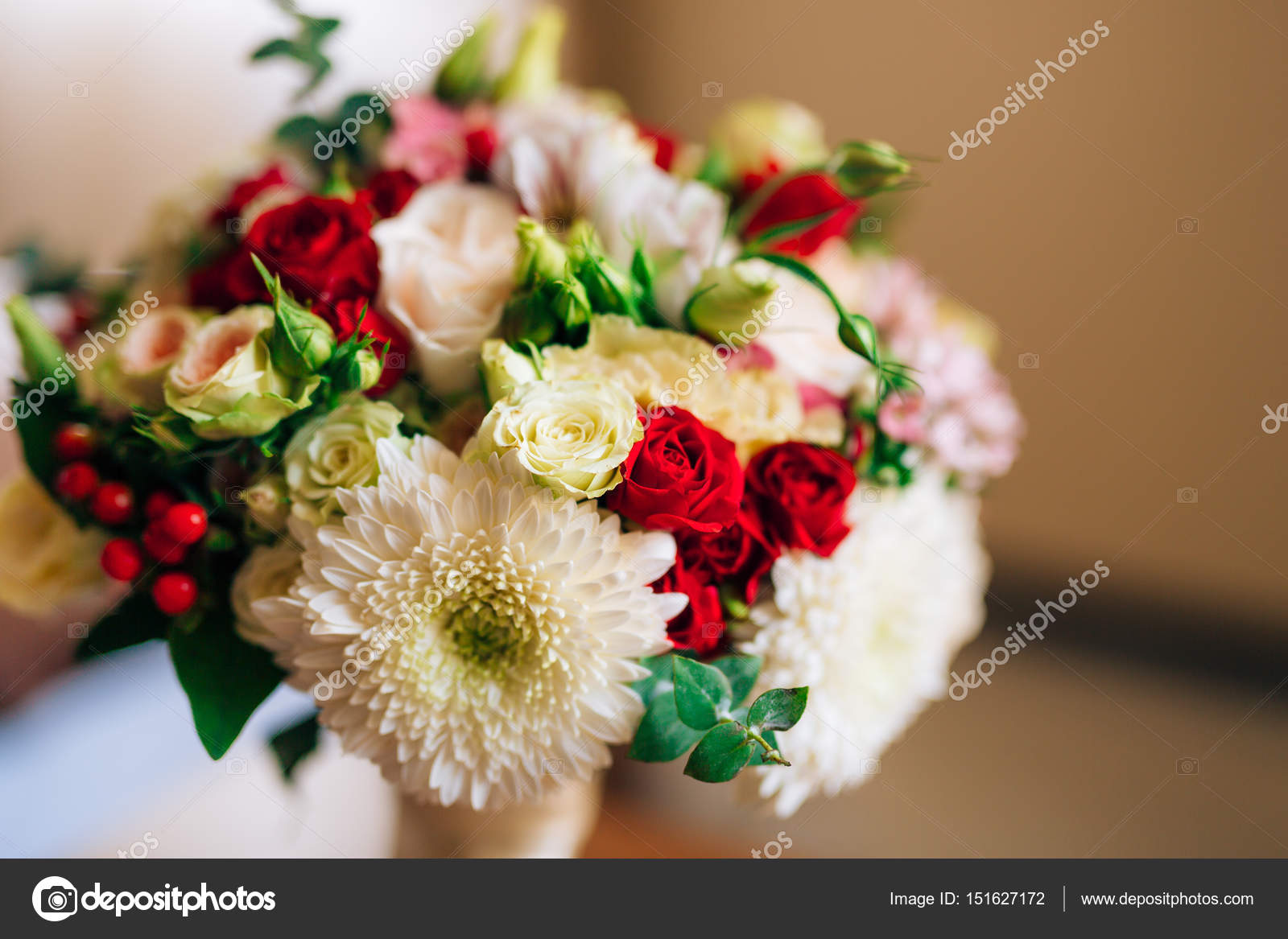 Wedding Bridal Bouquet Of Roses Chrysanthemums Eucalyptus Baby Stock Photo Image By C Nadtochiy 151627172