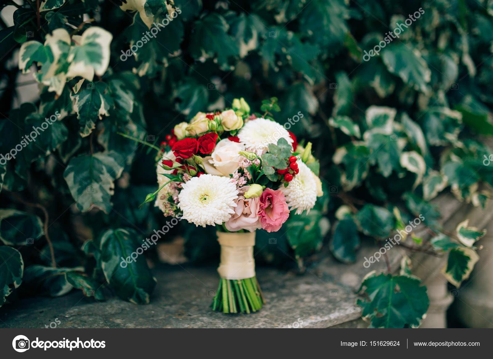 Wedding Bridal Bouquet Of Roses Chrysanthemums Eucalyptus Baby Stock Photo C Nadtochiy 151629624