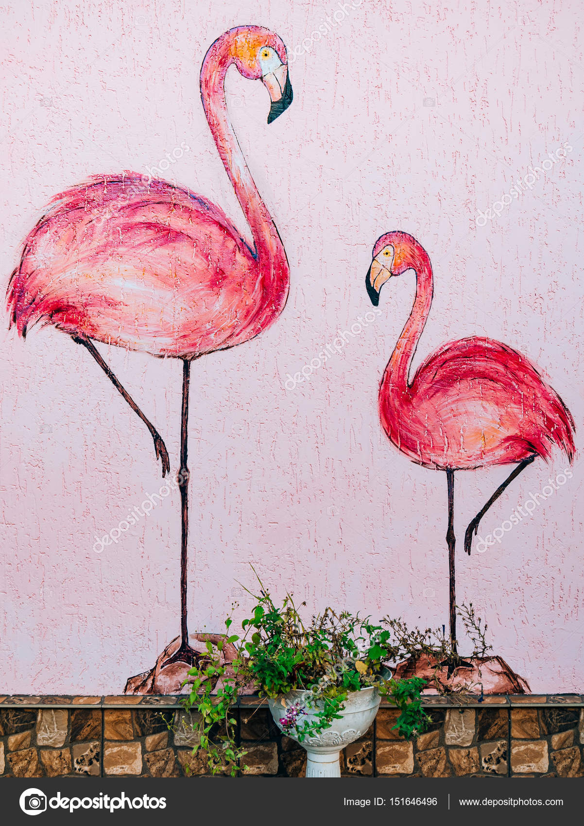 Figure Of Two Pink Flamingos On The Wall Symbolism Is Mother An