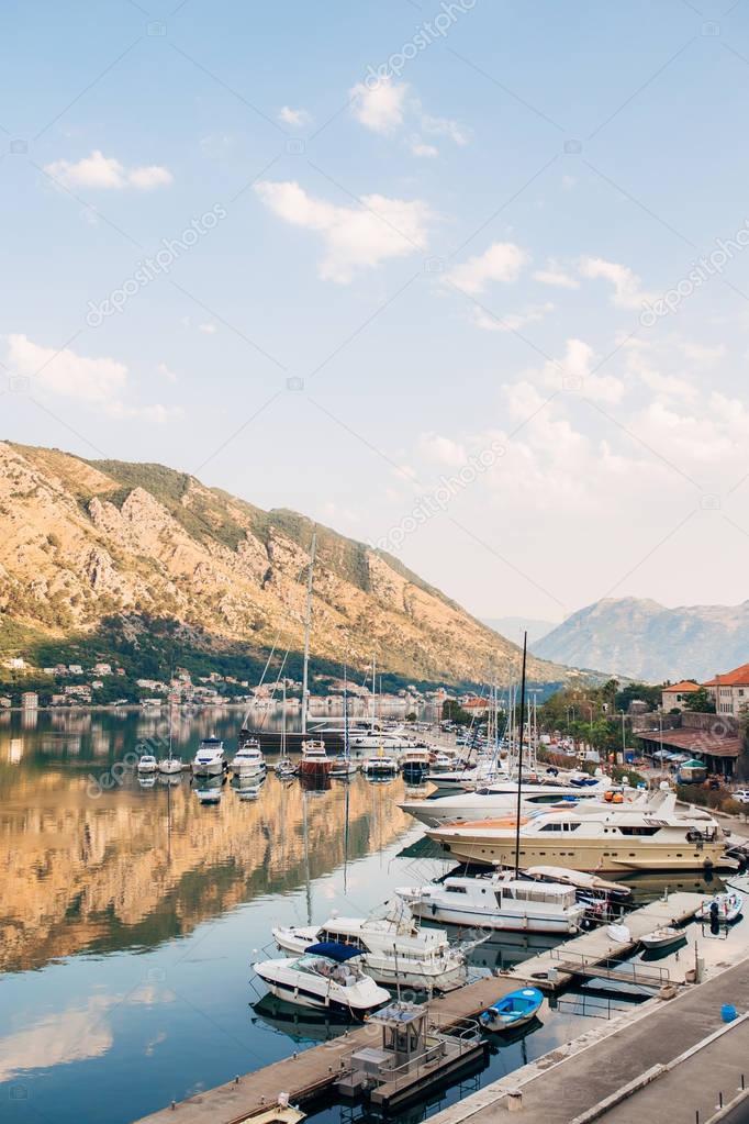 Sailboat mooored in the marina of Kotor village