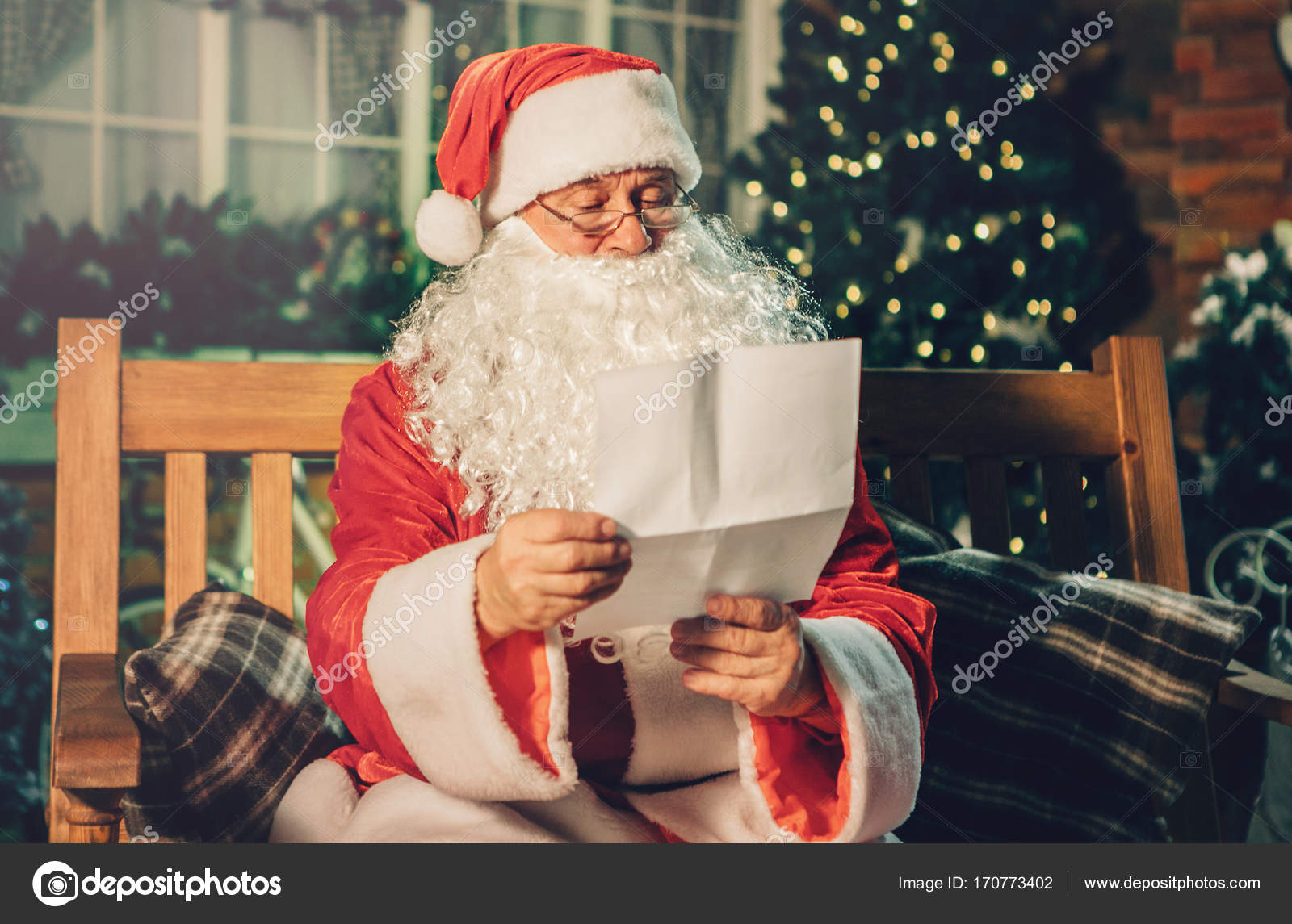 Santa Claus Read Letter From Children  Stock Photo  Kokulina