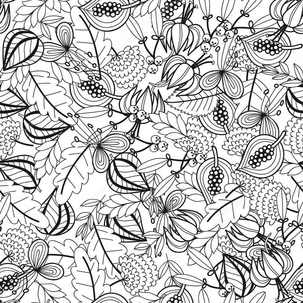 Schwarz / weiß nahtlose Muster mit Blumen, Blätter zum Ausmalen ...