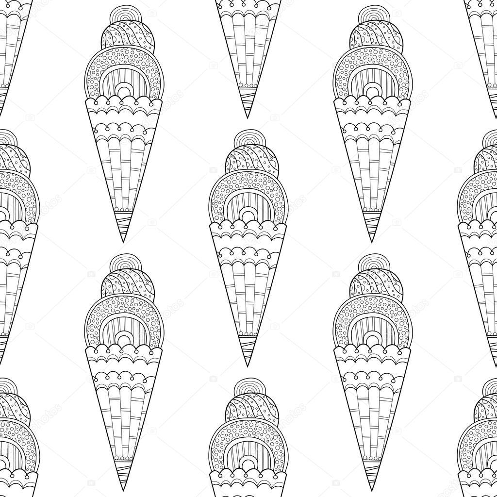 Siyah Beyaz Seamless Modeli Boyama Dekoratif Dondurma Ile Stok