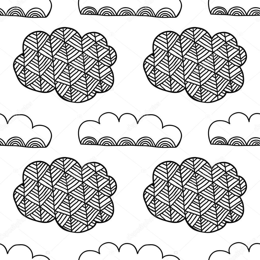 Blanco y negro de patrones sin fisuras con decorativas nubes para ...