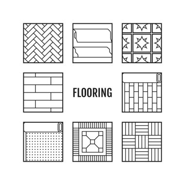 Flooring. Flat icons of laminate, parquet, carpets and other materials.