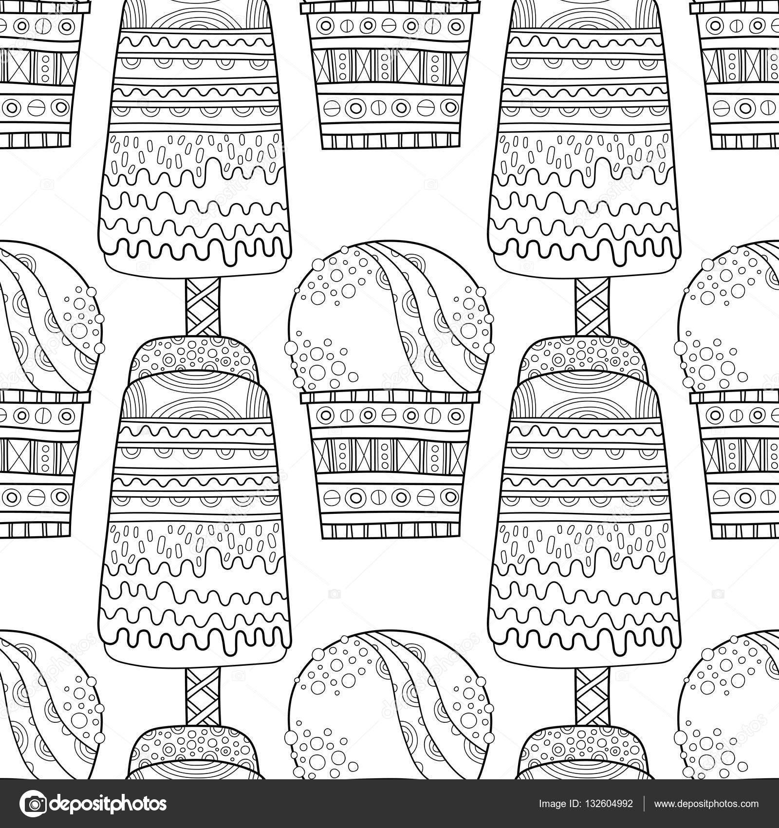 Patrón transparente blanco negro con decorativa helado para colorear ...