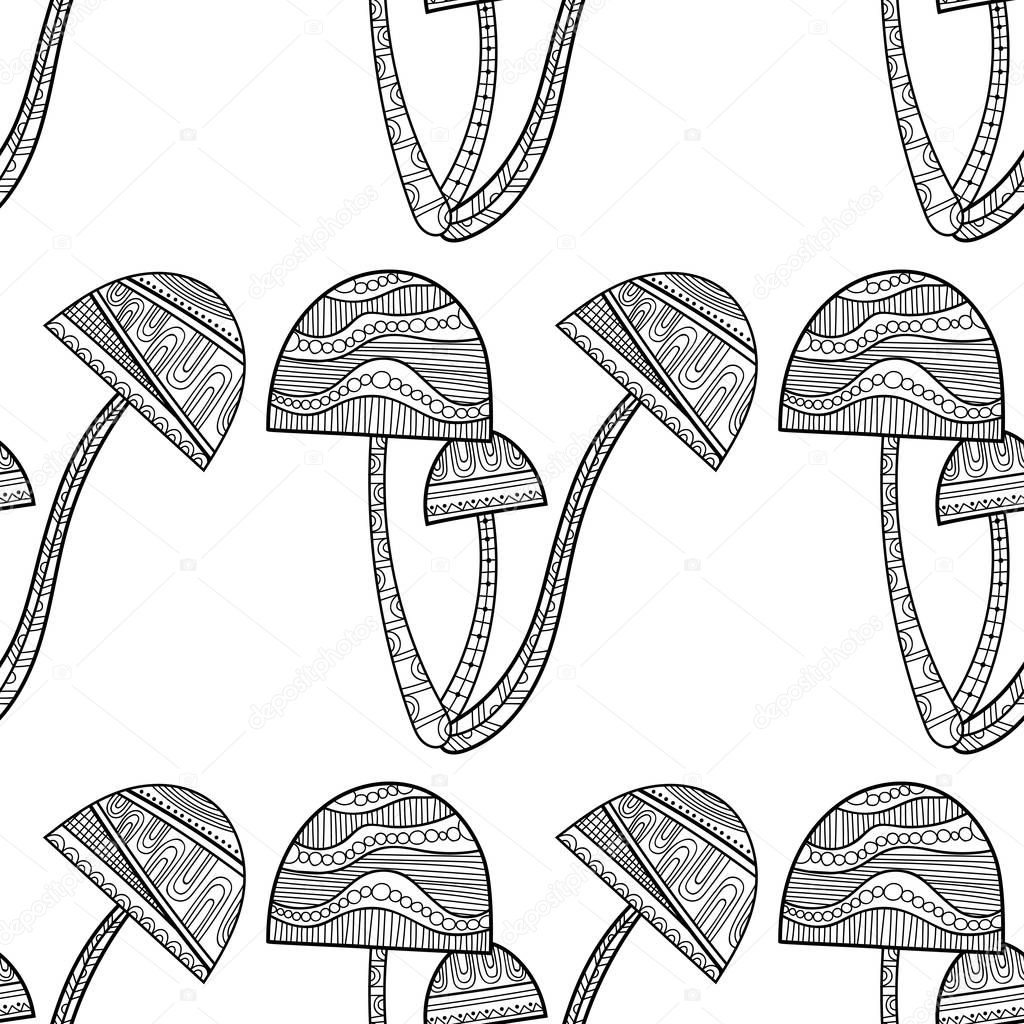Black, white seamless pattern with decorative mushrooms for coloring book