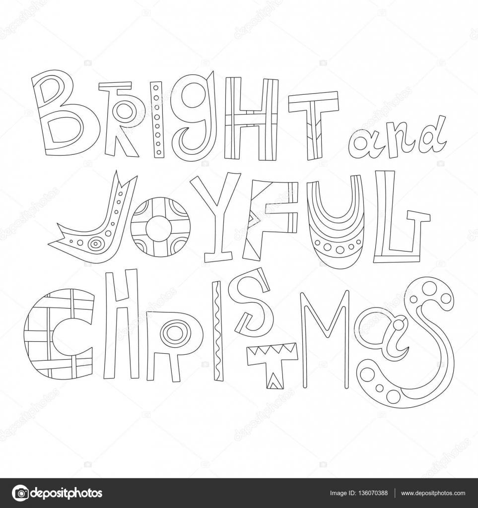Blanco y negro saludos de Navidad para colorear. Letras decorativas ...