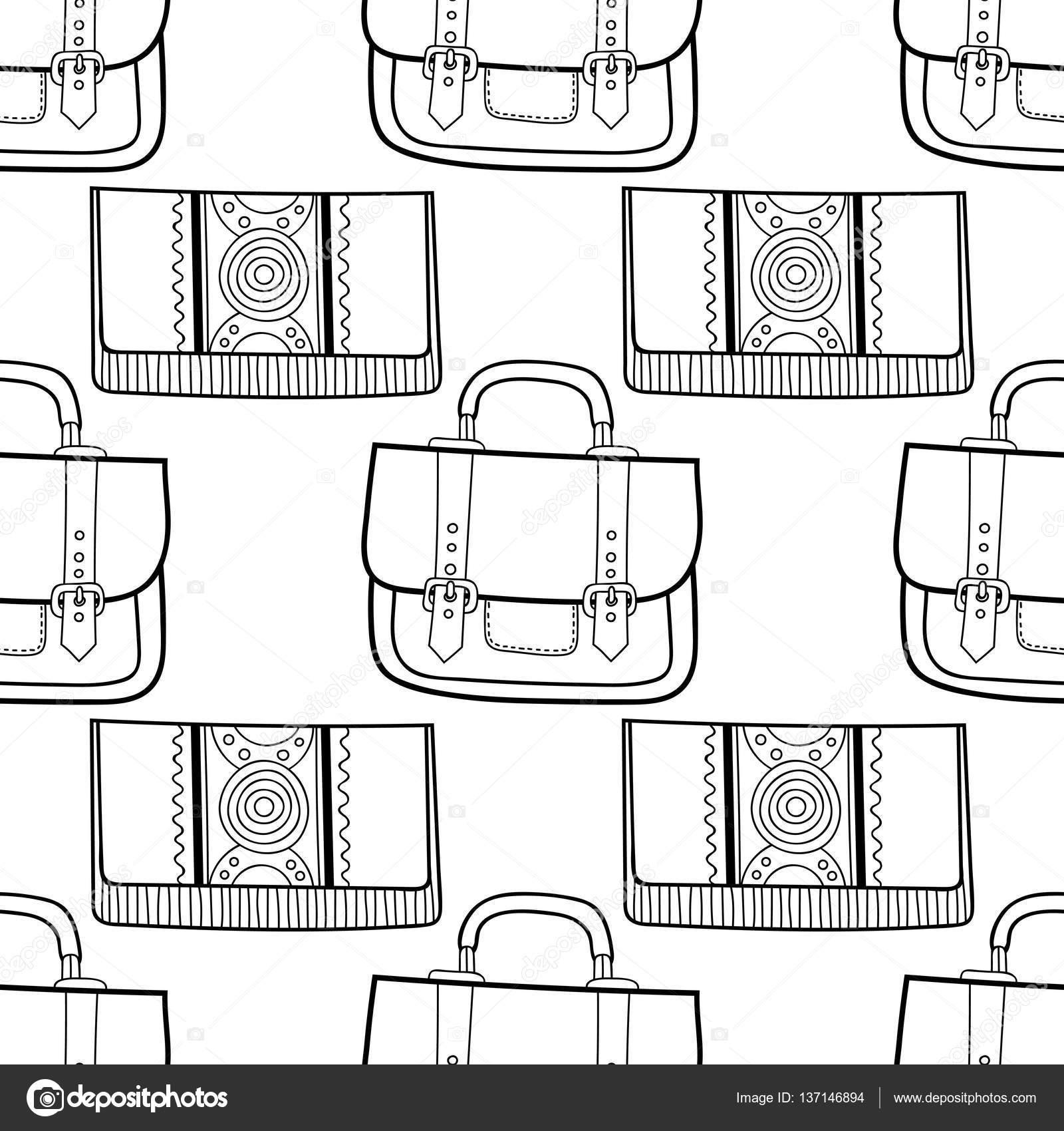 Siyah Ve Beyaz Moda çanta Boyama Ile Seamless Modeli Stok Vektör
