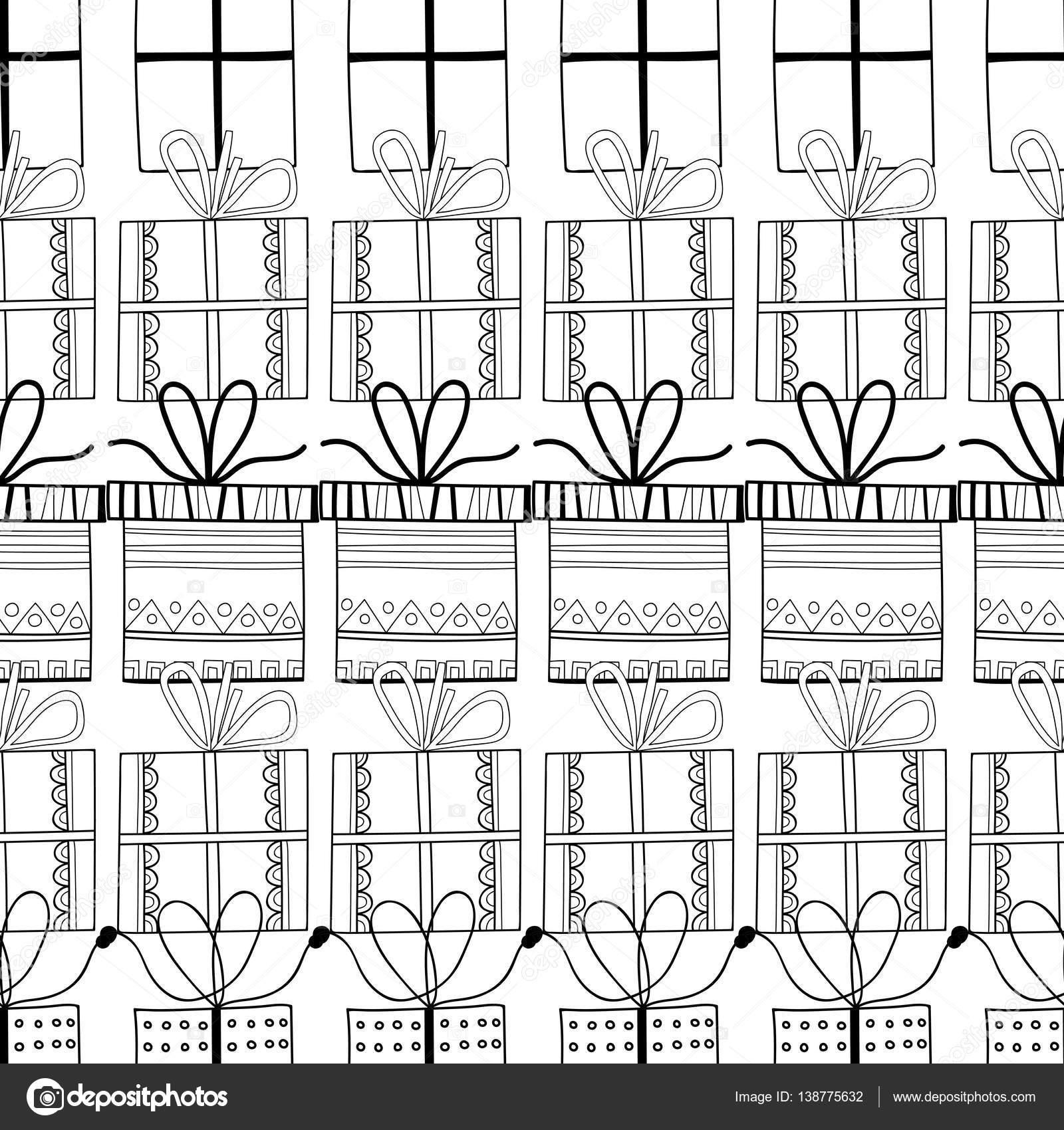 Imágenes: caja de regalo para colorear | Blanco y negro de patrones ...