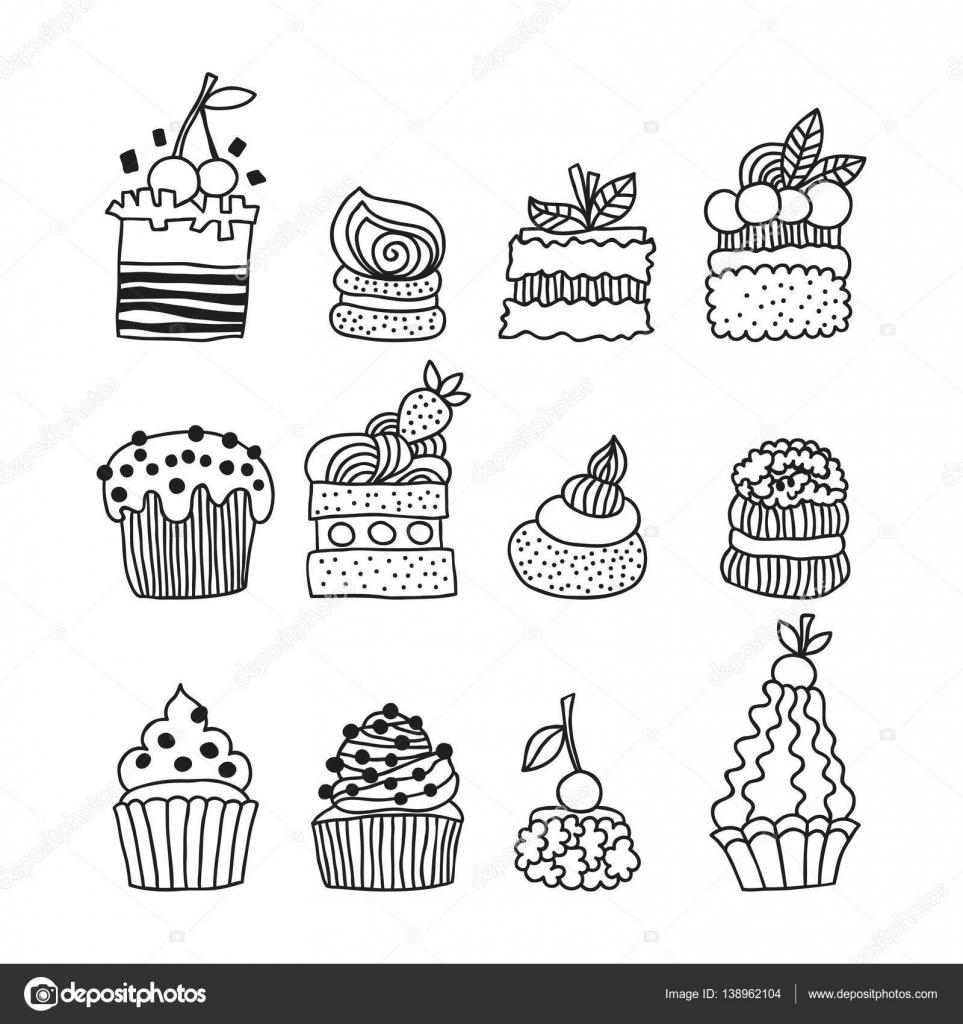 Establecer tortas garabato blanco y negro para colorear libro de ...
