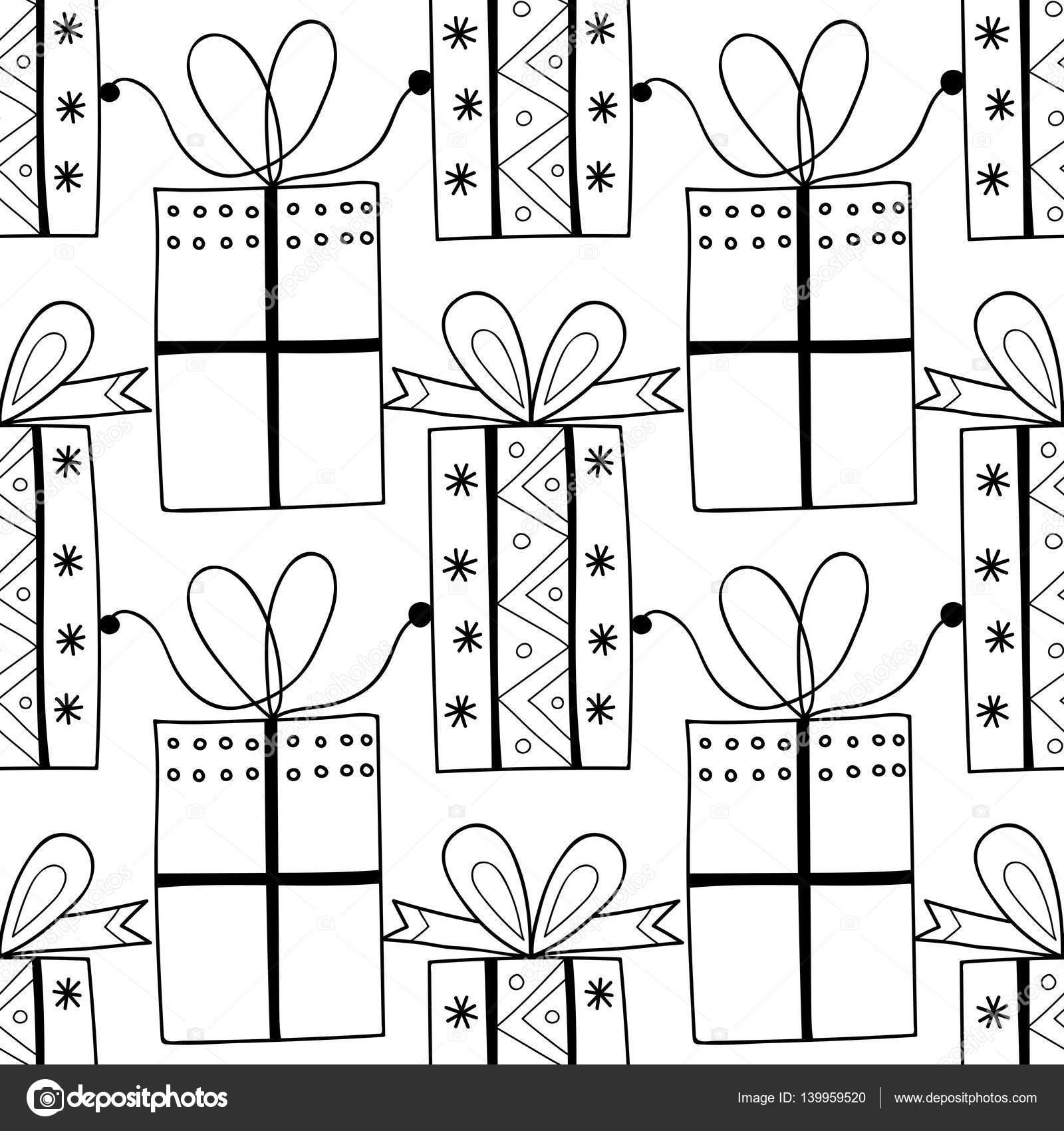 Imágenes: cajas de regalos para colorear | Blanco y negro de ...