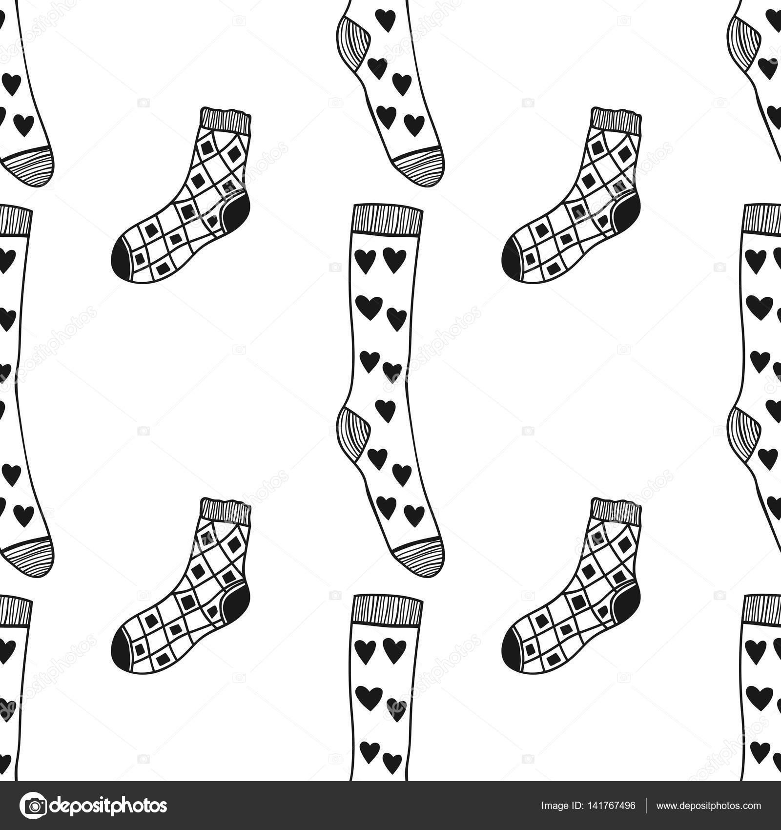 Negro sin costura, patrón blanco de aplicarle calcetines color libro ...