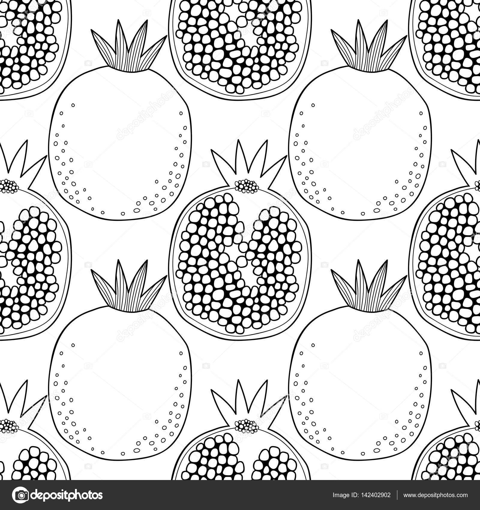 塗り絵のザクロと黒と白のシームレスなパターン果物背景 ストック
