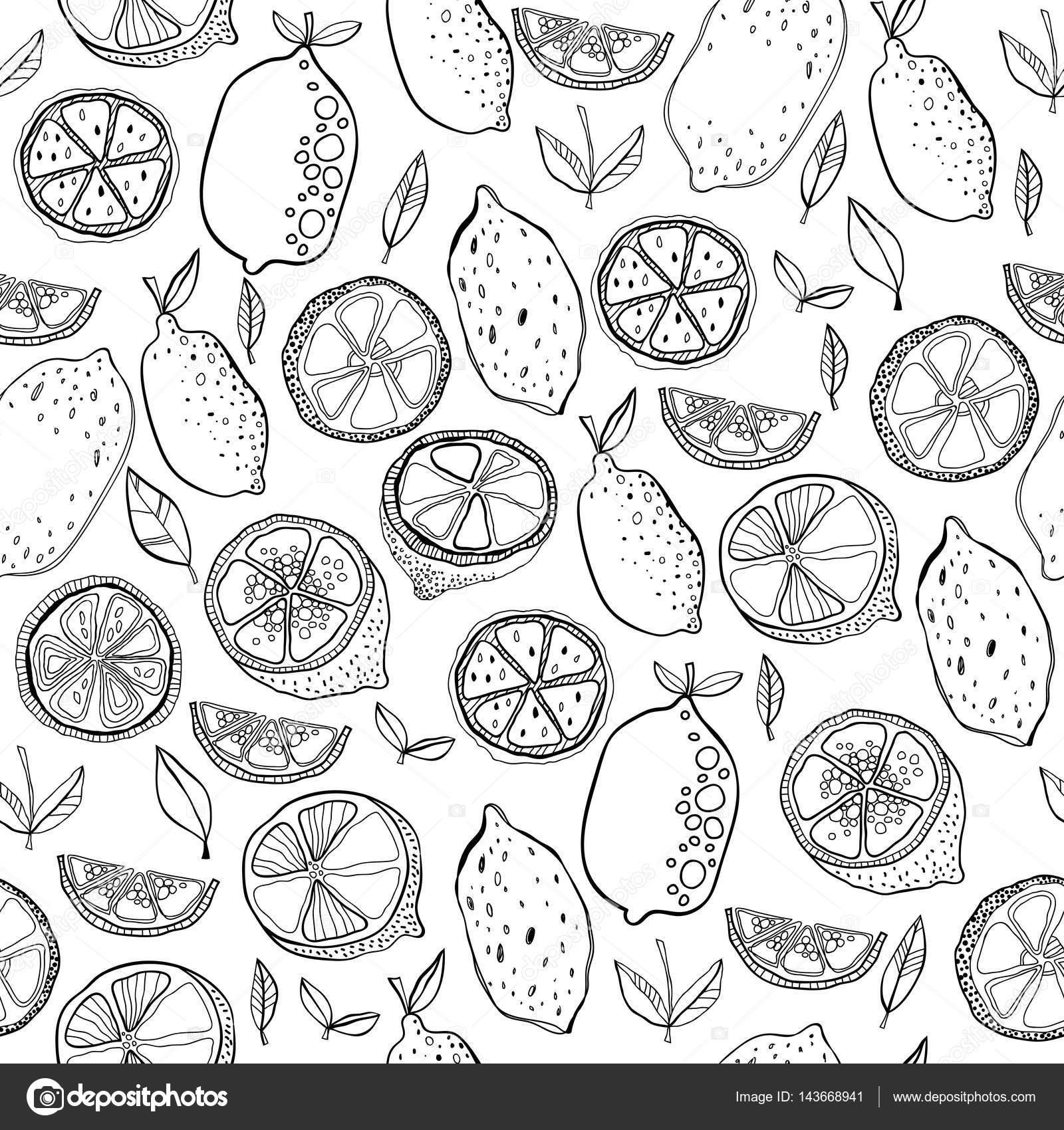 Blanco y negro de patrones sin fisuras de frutas con limones para ...