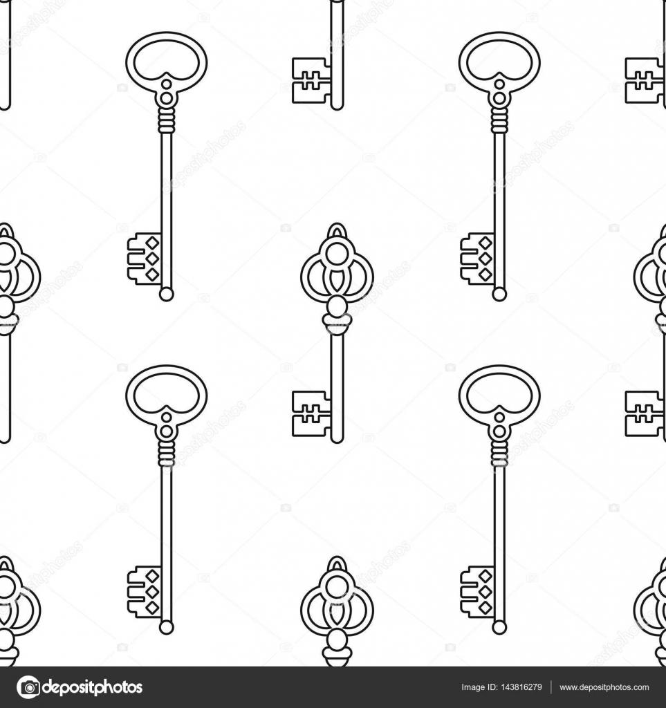 Blanco y negro de patrones sin fisuras con llaves vintage para ...