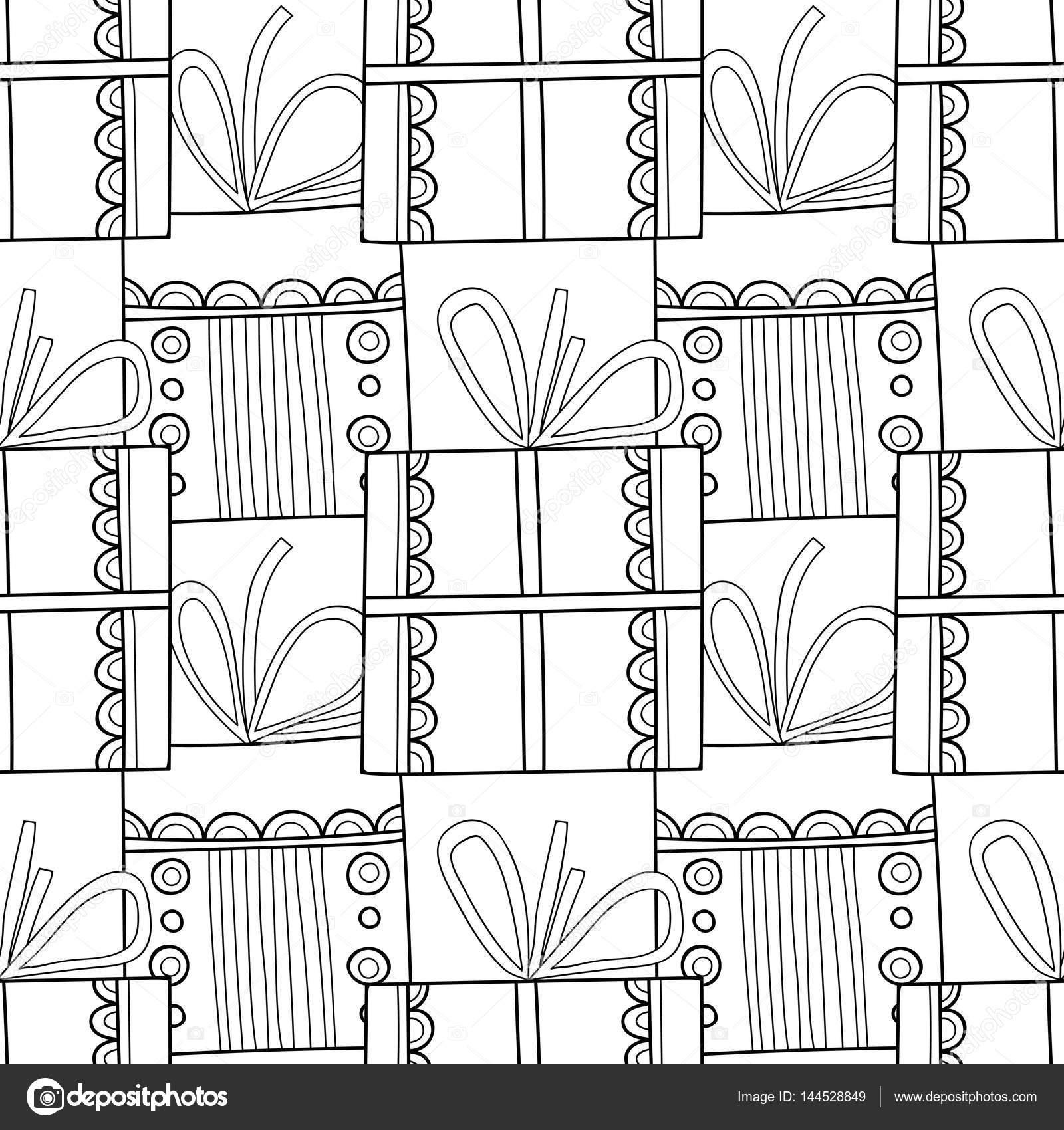 Blanco y negro de patrones sin fisuras con cajas de regalo para ...