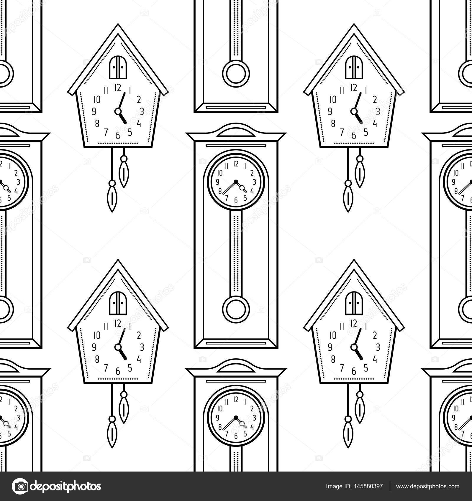 Reloj y reloj de abuelo, objetos planos lineales. Patrón ...