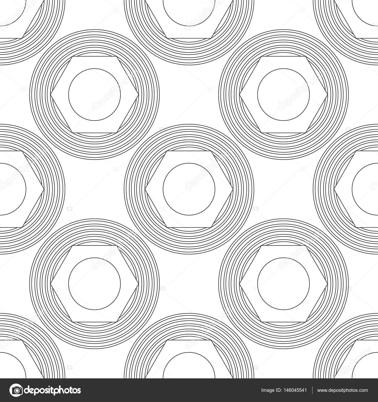 Siyah Ve Beyaz Boyama Kitabı Için çokgenler Ile Kesintisiz Geometrik