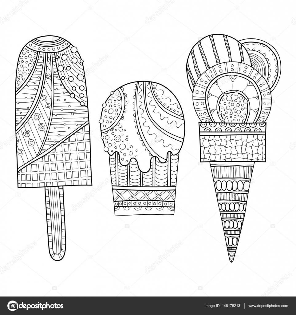 Blanco y negro ilustración de helado decorada para colorear libro ...