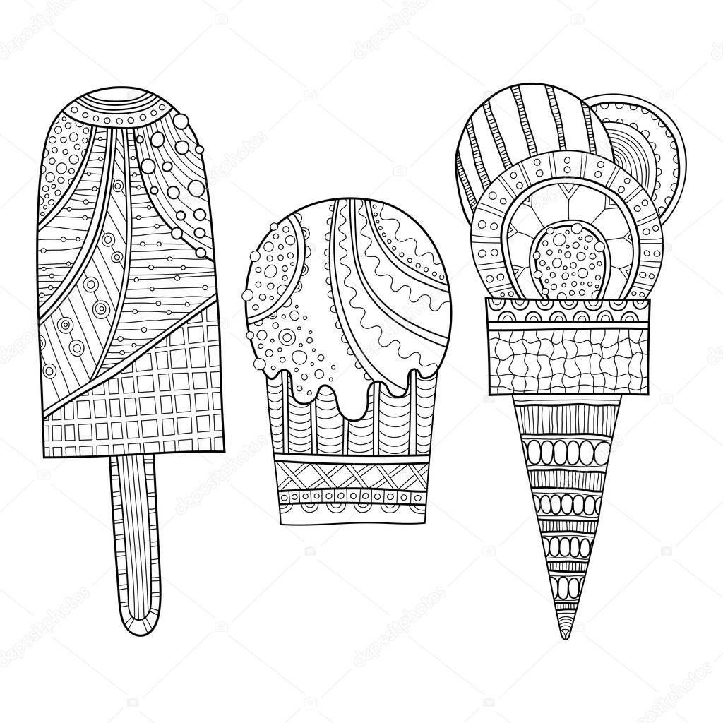 Schwarz / weiß Darstellung der eingerichteten Eis für Malbuch ...