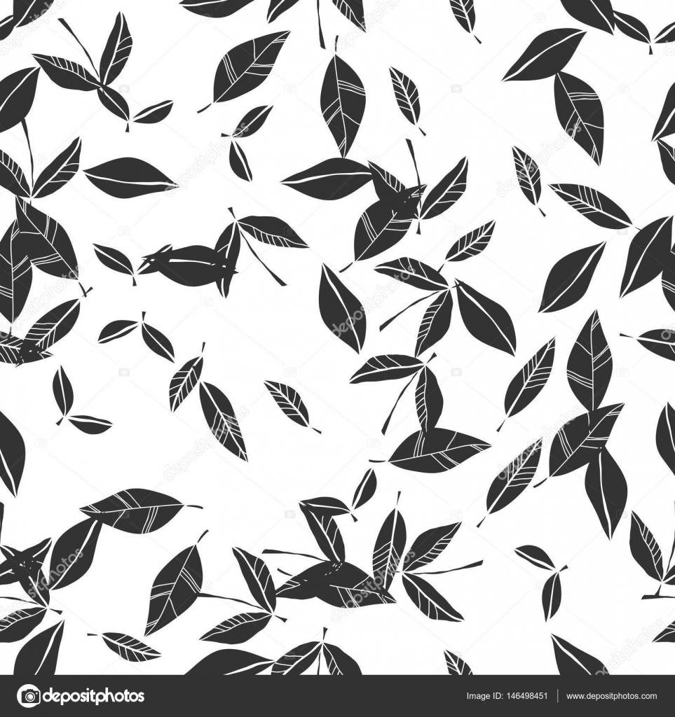 Blanco y negro de patrones sin fisuras de caer las hojas. Fondo ...