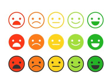 Colored flat icons of emoticons.Different emotions, moods.