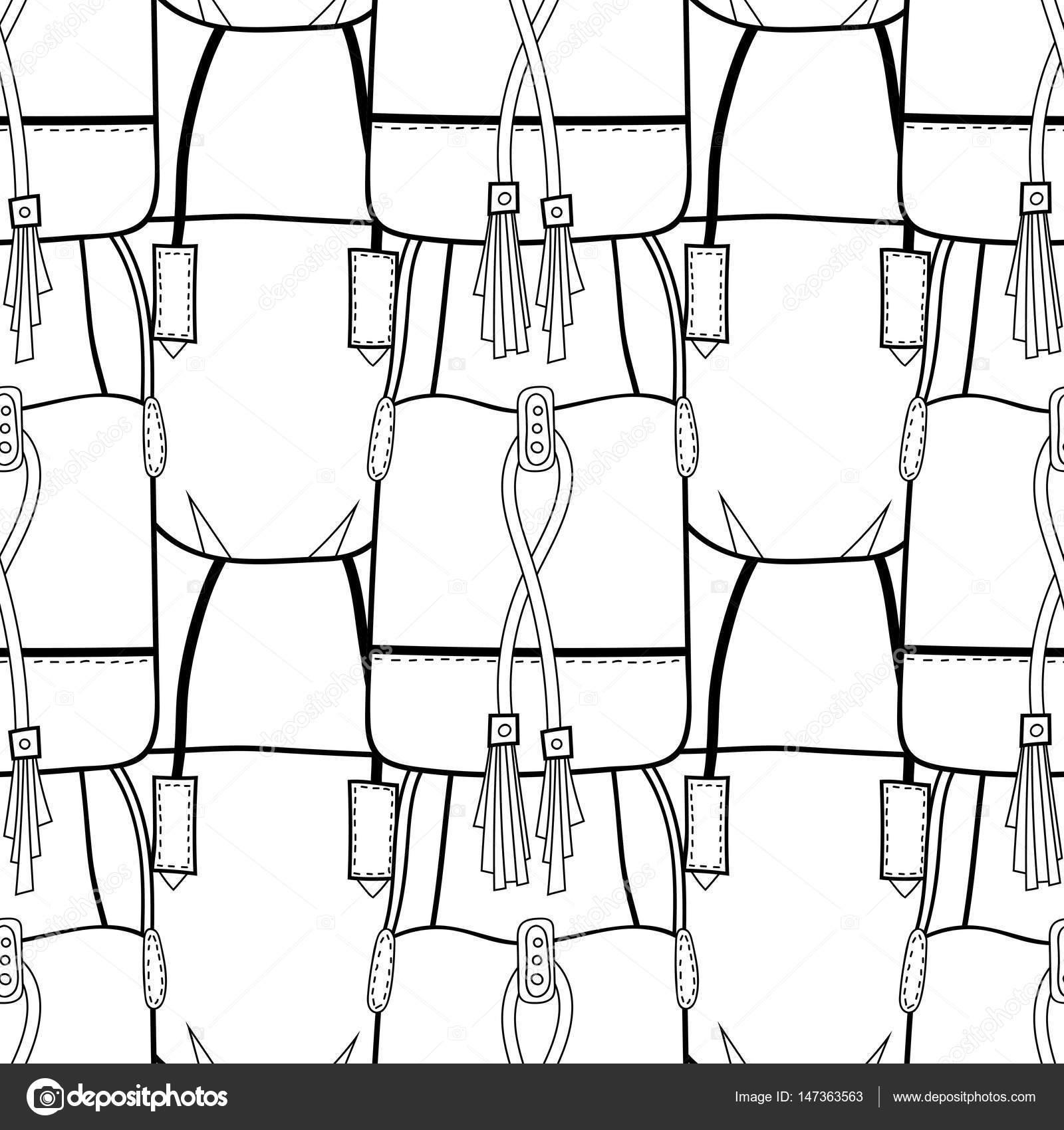 Blanco y negro de patrones sin fisuras con los bolsos de moda para ...