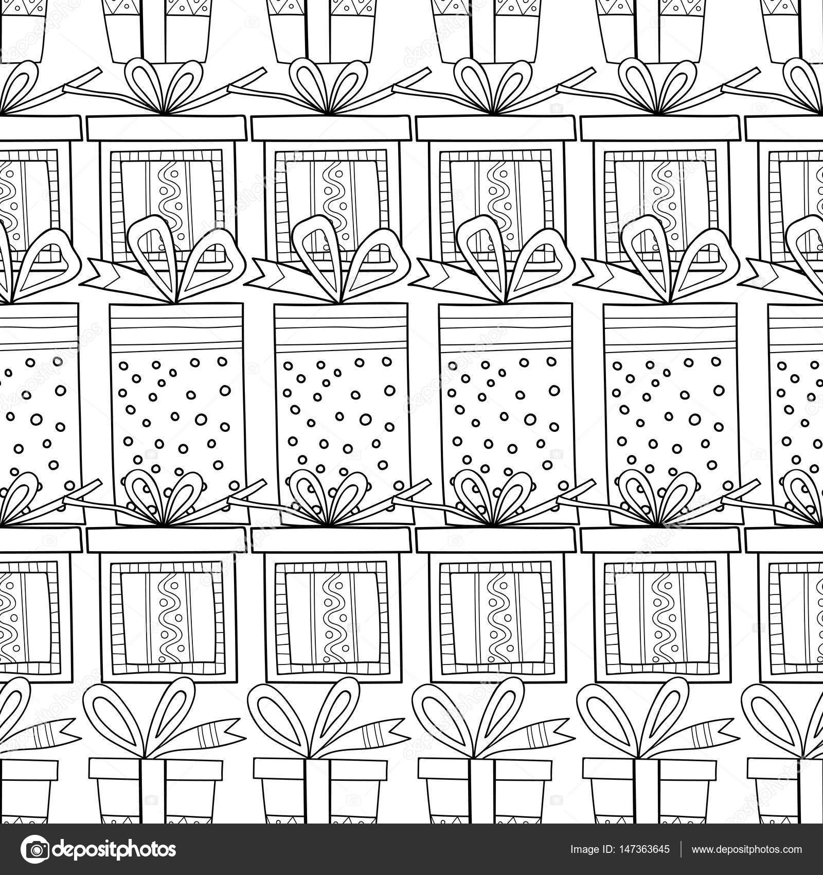 Blanco y negro patrones sin fisuras con cajas de regalo para ...