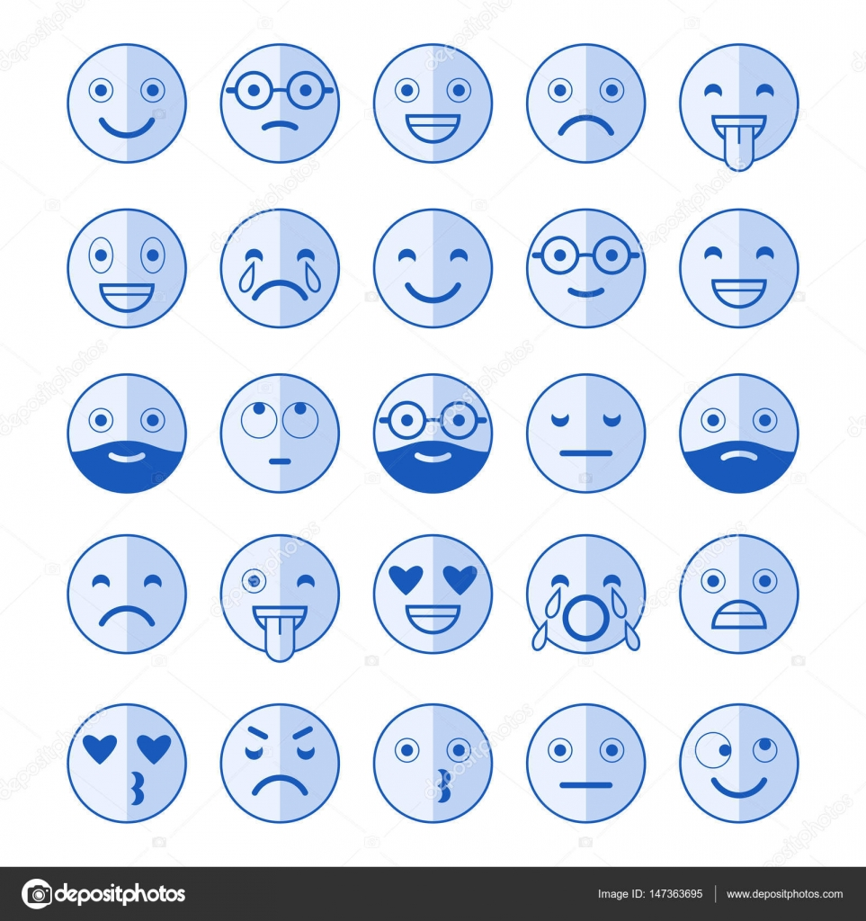 Blue Flat Icons Of Emoticons. Smile With A Beard, Different Emotions, Moods. Design