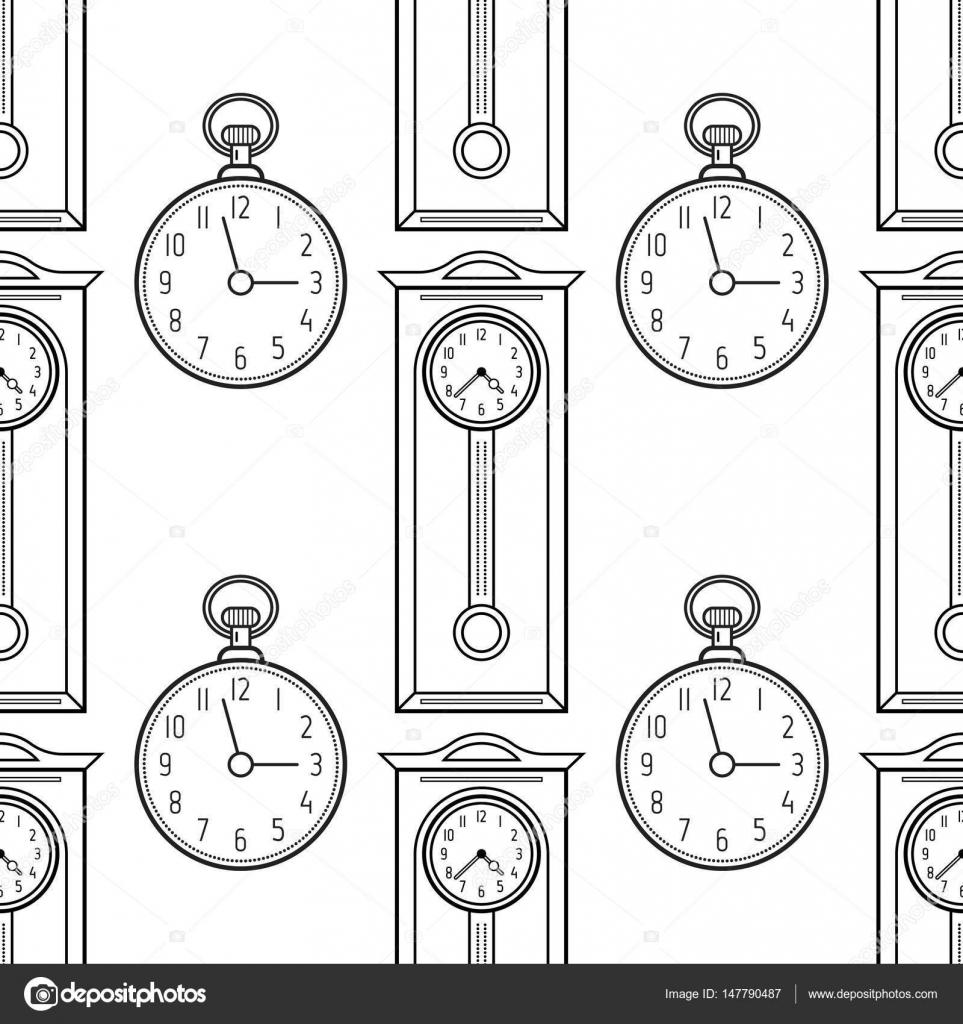 Relojes de bolsillo y el reloj de abuelo, objetos planos lineales ...