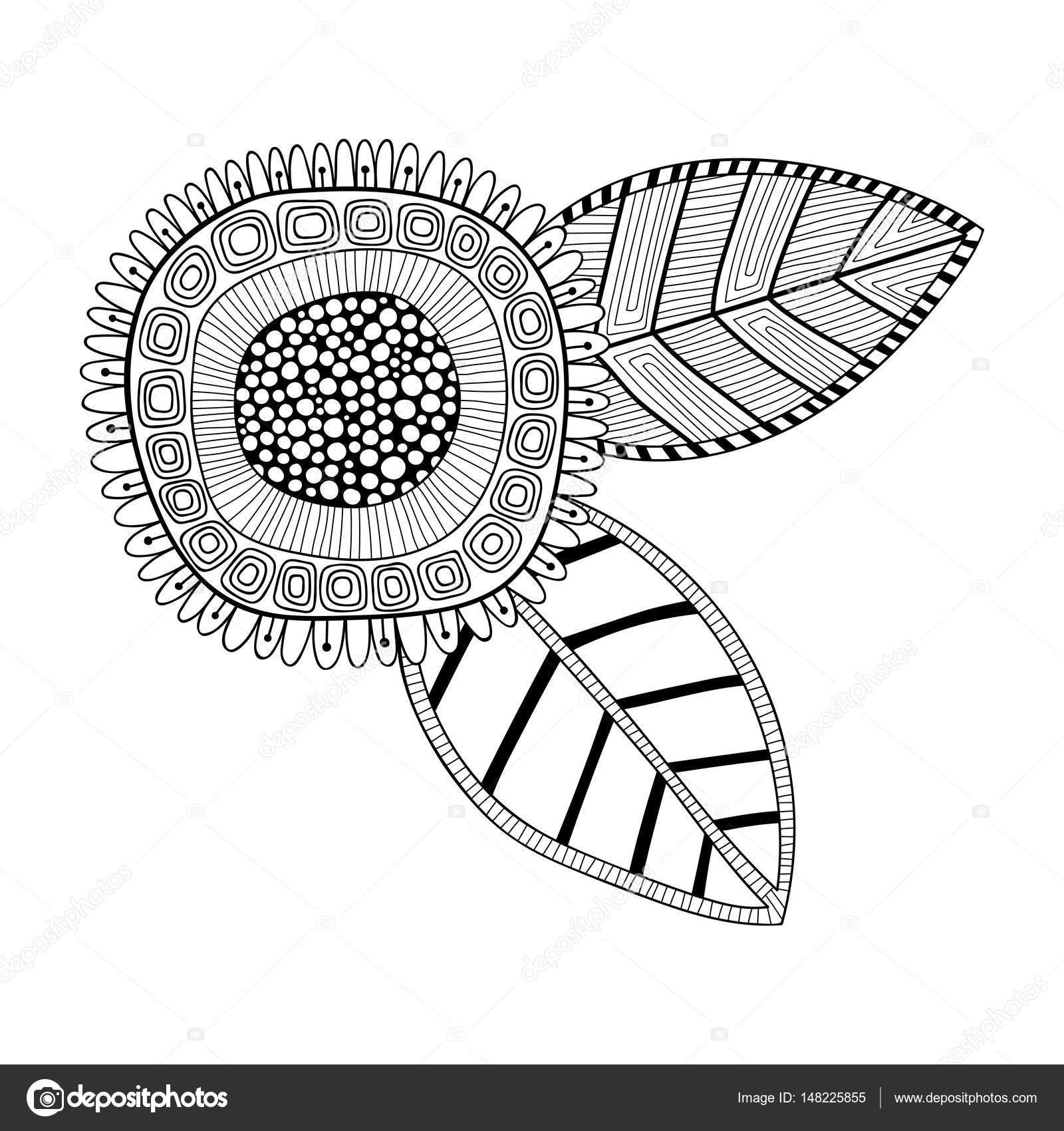 Blanco y negro ilustración de una flor elegante, decorativa para ...