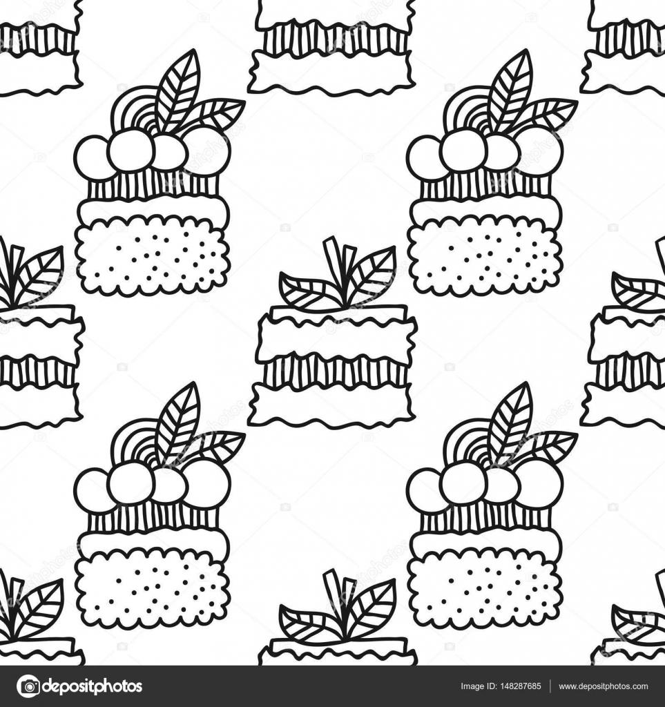 Blanco y negro de patrones sin fisuras con tortas para libros para ...