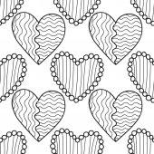 Bianco e nero senza cuciture con cuori decorativi per libro da colorare, pagina. Ornamento romantico