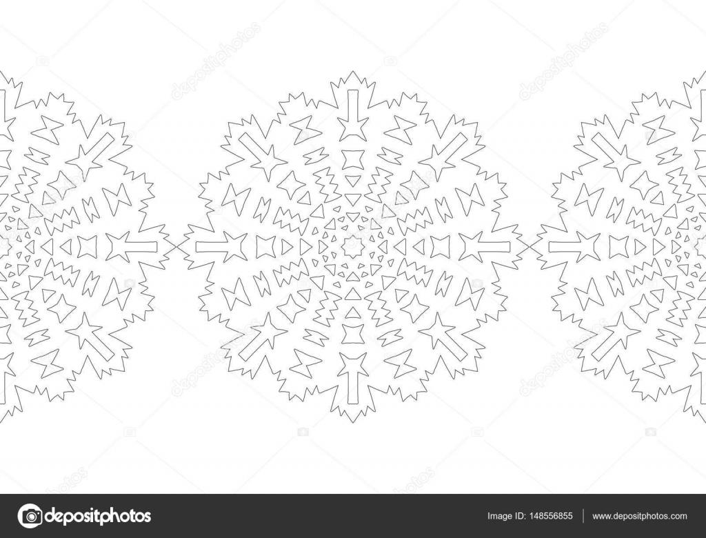 Copo de nieve blanco y negro para colorear libro. Patrón festivo de ...