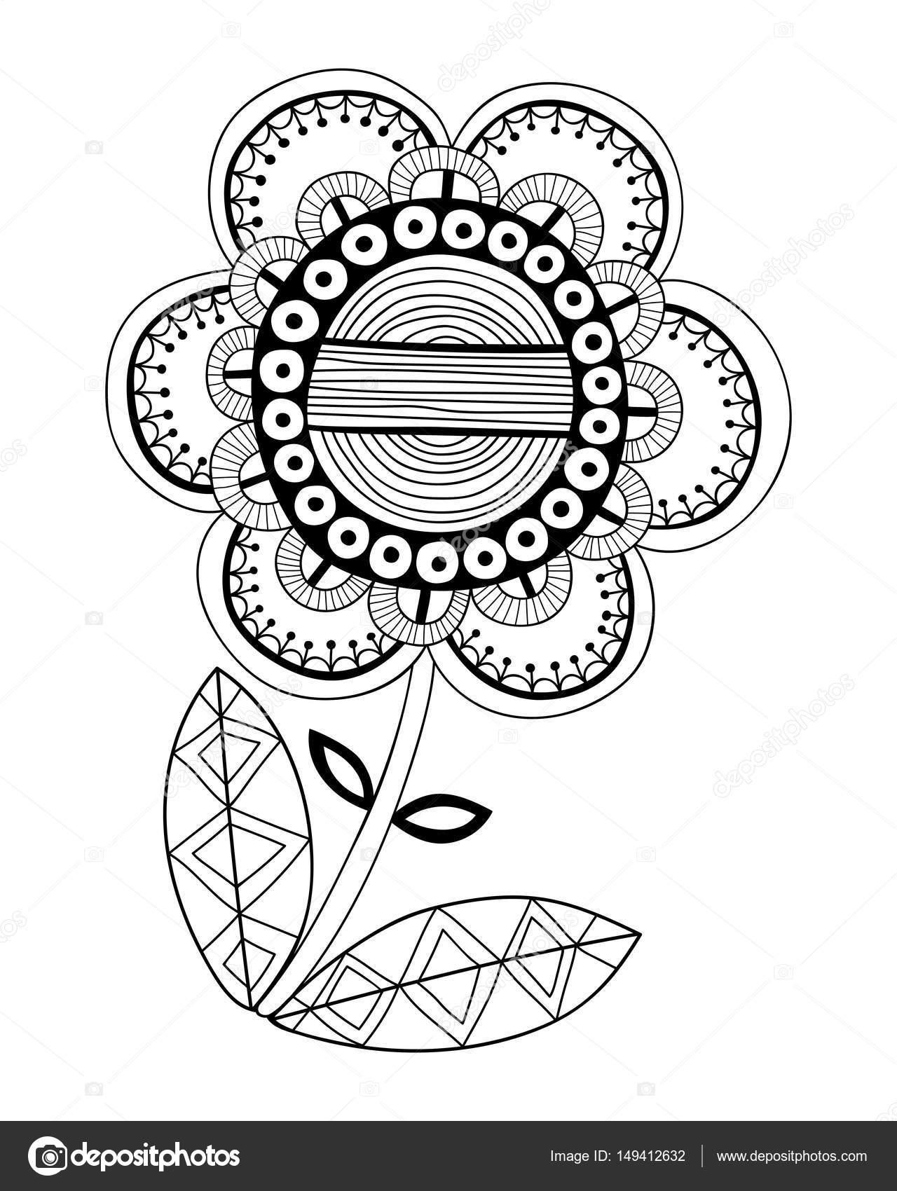 Boyama Kitabı Sayfa Için Bir Fantezi Dekoratif çiçek Resmi Siyah