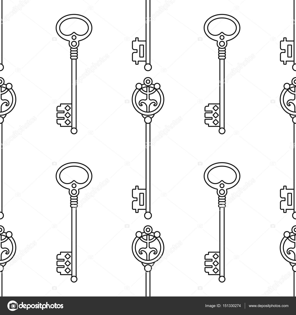 Patrón transparente blanco y negro vintage, viejas llaves para ...